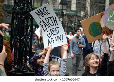New York City - March 15, 2019: Students on Strike to Demand Action on Climate Change in Manhattan.