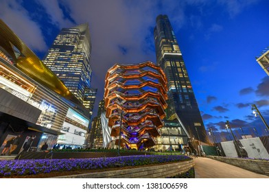 New York City - March 15, 2019: The Vessel, also known as the Hudson Yards Staircase (designed by architect Thomas Heatherwick) at dusk in Midtown Manhattan West, NYC.