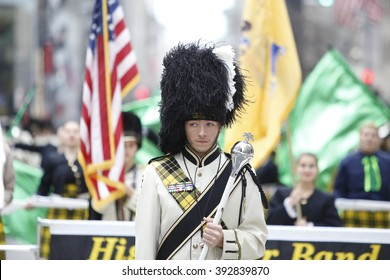 NEW YORK CITY - MARCH 17 2016: Thousands lined 5th Ave to witness Mayor de Blasio's first march in the nation's oldest & largest St Patrick's Day parade