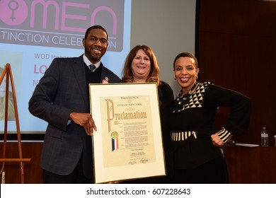 NEW YORK CITY - MARCH 17 2017: NY City Council Members Jumaane Williams & Laurie Cumbo presided over Shirley Chisholm Women of Distinction Awards. Lori Knipel with Jumaane Williams & Laurie Cumbo