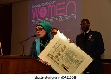 NEW YORK CITY - MARCH 17 2017: NY City Council Members Jumaane Williams & Laurie Cumbo presided over an evening of Shirley Chisholm Women of Distinction Awards. Honoree Debbie Almontaser