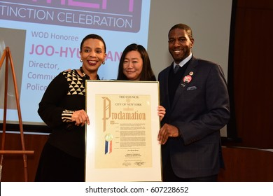 NEW YORK CITY - MARCH 17 2017: NY City Council Members Jumaane Williams & Laurie Cumbo presided Shirley Chisholm Women of Distinction Awards. Joo-Hyun Kang with Jumaane Williams & Laurie Cumbo