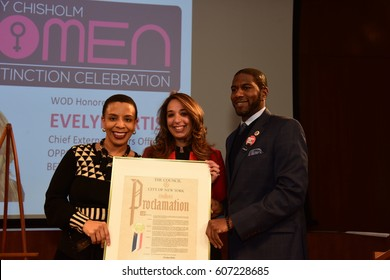 NEW YORK CITY - MARCH 17 2017: NY City Council Members Jumaane Williams & Laurie Cumbo presided over Shirley Chisholm Women of Distinction Awards. Evelyn Ortiz with Laurie Cumbo & Jumaane Williams