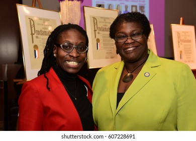 NEW YORK CITY - MARCH 17 2017: NY City Council Members Jumaane Williams & Laurie Cumbo presided over Shirley Chisholm Women of Distinction Awards. NY state senator Roxanne Persaud with fan