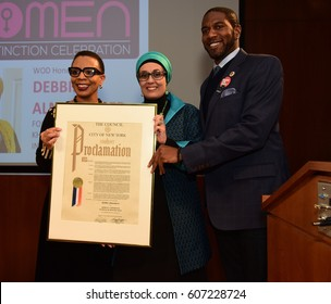 NEW YORK CITY - MARCH 17 2017: NY City Council Members Jumaane Williams & Laurie Cumbo presided over Shirley Chisholm Women of Distinction Awards. Debbie Almontaser & Laurie Cumbo & Jumaane Williams