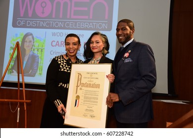 NEW YORK CITY - MARCH 17 2017: NY City Council Members Jumaane Williams & Laurie Cumbo presided over Shirley Chisholm Women of Distinction Awards. Carmen Perez with Laurie Cumbo & Jumaane Williams.