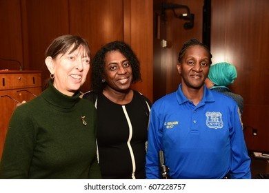 NEW YORK CITY - MARCH 17 2017: NY City Council Members Jumaane Williams & Laurie Cumbo presided over an evening of Shirley Chisholm Women of Distinction Awards. Ronette Benjamin with friends