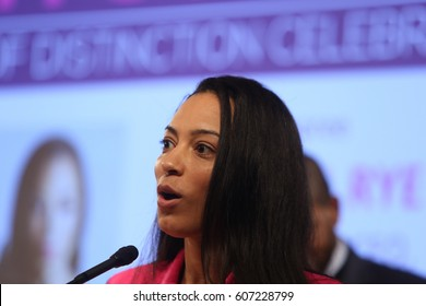 NEW YORK CITY - MARCH 17 2017: NY City Council Members Jumaane Williams & Laurie Cumbo presided over an evening of Shirley Chisholm Women of Distinction Awards. Angela Rye, Impact Strategies CEO