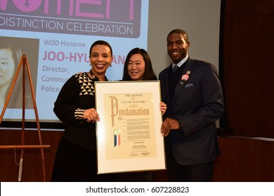 NEW YORK CITY - MARCH 17 2017: NY City Council Members Jumaane Williams & Laurie Cumbo presided over Shirley Chisholm Women of Distinction Awards. Joo-Hyun Kang with Laurie Cumbo & Jumaane Williams