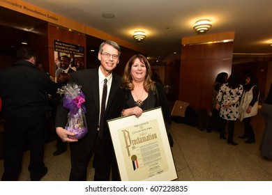NEW YORK CITY - MARCH 17 2017: NY City Council Members Jumaane Williams & Laurie Cumbo presided over Shirley Chisholm Women of Distinction Awards. Honoree Lori Knipel with spouse Larry Knipel