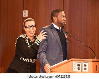 NEW YORK CITY - MARCH 17 2017: NY City Council Members Jumaane Williams & Laurie Cumbo presided over an evening of Shirley Chisholm Women of Distinction Awards. Laurie Cumbo & Jumaane Williams onstage