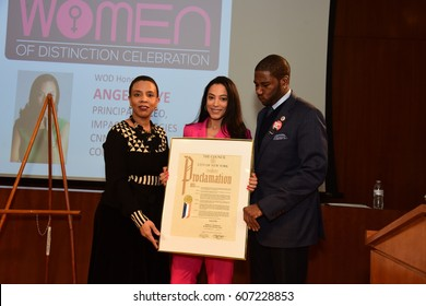NEW YORK CITY - MARCH 17 2017: NY City Council Members Jumaane Williams & Laurie Cumbo presided over Shirley Chisholm Women of Distinction Awards. Angela Rye with Laurie Cumbo & Jumaane Williams