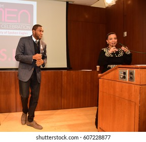 NEW YORK CITY - MARCH 17 2017: NY City Council Members Jumaane Williams & Laurie Cumbo presided over Shirley Chisholm Women of Distinction Awards. Jumaane Williams onstage with Laurie Cumbo