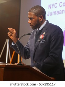 NEW YORK CITY - MARCH 17 2017: NY City Council Members Jumaane Williams & Laurie Cumbo presided over Shirley Chisholm Women of Distinction Awards. NY city council member Jumaane Williams