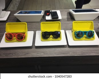 NEW YORK CITY: March 2, 2018: Snapchat's Snap Inc. spectacles are on sale at Macy's in Manhattan.  Technology, cool, trendy.  Company has been criticized as many consider camera glasses a failure.