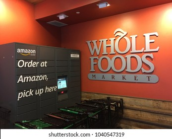 NEW YORK CITY: March 2, 2018:  Whole Foods Market (WFM). Amazon (NASDAQ: AMZN) Locker is self-service parcel delivery service. Customers select Locker location as delivery address, retrieve location