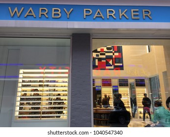 NEW YORK CITY: March 2, 2018: Warby Parker is an American brand of prescription eyeglasses and sunglasses founded in 2010 in Philadelphia by Neil Blumenthal, Andrew Hunt, David Gilboa