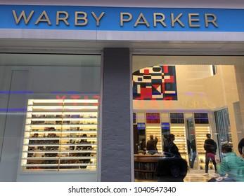 NEW YORK CITY: March 2, 2018: Warby Parkeris anAmericanbrand of prescriptioneyeglassesandsunglassesfounded in 2010 inPhiladelphiaby Neil Blumenthal, Andrew Hunt, David Gilboa