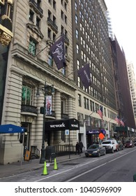 NEW YORK CITY - March 2, 2018: Exterior. WeWork is American company shared workspace, community, for entrepreneurs, freelancers, startups small businesses. $4.4 Billion Investment from SoftBank.