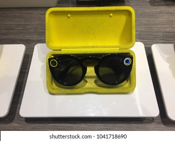 NEW YORK CITY: March 2, 2018: Snapchat's Snap Inc. spectacles are on sale at Macy??s in Manhattan.  Technology, cool, trendy.  Company has been criticized as many consider camera glasses a failure.