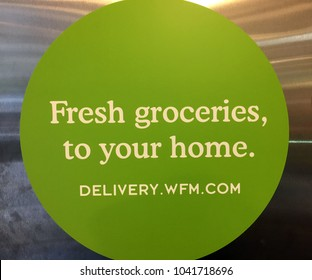 NEW YORK CITY: March 2, 2018:  Whole Foods Market (WFM). The American supermarket chain acquired by Amazon (NASDAQ: AMZN), is now delivering delivery fresh healthy groceries to customer homes.