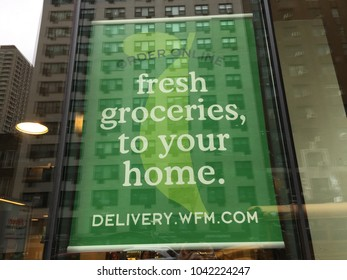 NEW YORK CITY: March 2, 2018:  Whole Foods Market. The American supermarket chain acquired by Amazon (NASDAQ: AMZN), is now delivering delivery fresh healthy groceries to customer homes.