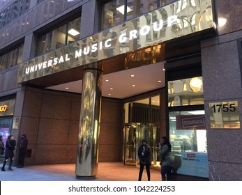 NEW YORK CITY - March 2, 2018:  Universal Music Group, UMG Recordings, Inc. UMG headquarters. American global music corporation that is a subsidiary of the French media conglomerate Vivendi.