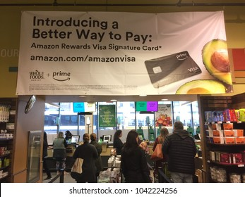 NEW YORK CITY: March 2, 2018: Amazon (NASDAQ: AMZN) is offering Prime members who use Visa rewards credit card 5 percent cash back when shop Whole Foods.  Customers get five percent back when shopping