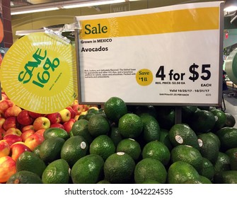NEW YORK CITY: March 2, 2018: Amazon (NASDAQ: AMZN) has cut prices on avocados at Whole Foods. Whole Foodsstores have cut prices nationally on more than a dozen popular items, including organic food.