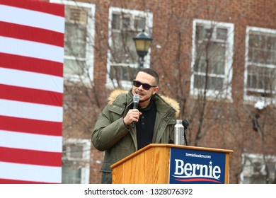NEW YORK CITY - MARCH 2 2019: Vermont Senator Bernie Sanders started his campaign for the 2020 Presidential nomination with a rally at Brooklyn College. Jeffrey Shaun King introduces candidate.