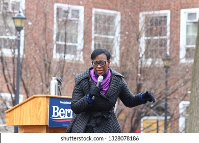 NEW YORK CITY - MARCH 2 2019: Vermont Senator Bernie Sanders started his campaign for the 2020 Presidential nomination with a rally at Brooklyn College. Ohio State Senator Nina Turner