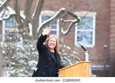 NEW YORK CITY - MARCH 2 2019: Vermont Senator Bernie Sanders started his campaign for the 2020 Presidential nomination with a rally at Brooklyn College. Jane Sanders addresses rally