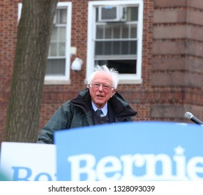 NEW YORK CITY - MARCH 2 2019: Vermont Senator Bernie Sanders started his campaign for the 2020 Presidential nomination with a rally at Brooklyn College