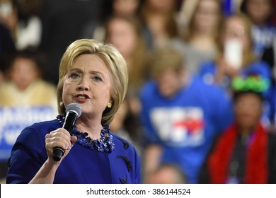 NEW YORK CITY - MARCH 2 2016: Hillary Clinton affirmed her status as front-runner for the Democratic presidential nominations with a speech at Jacob Javits Center