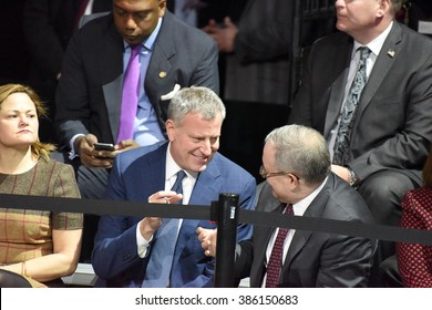 NEW YORK CITY - MARCH 2 2016: Hillary Clinton affirmed her status as front-runner for the Democratic presidential nominations with a speech at Jacob Javits Center. Bill de Blasio with Scott Stringer