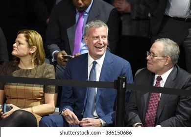 NEW YORK CITY - MARCH 2 2016: Hillary Clinton affirmed her front-runner status for the Democratic presidential nominations with a speech at Jacob Javits Center. Bill de Blasio & Scott Stringer