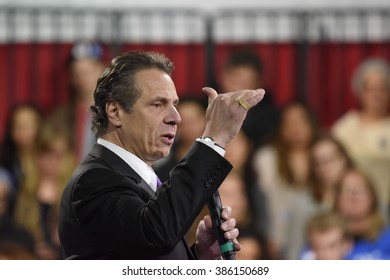 NEW YORK CITY - MARCH 2 2016: Hillary Clinton affirmed her status as front-runner for the Democratic presidential nominations with a speech at Jacob Javits Center. NY governor Andrew Cuomo