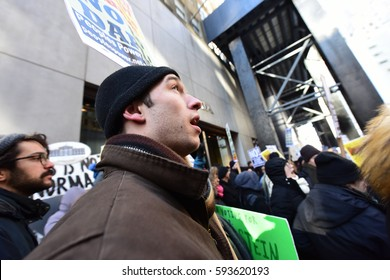 NEW YORK CITY - MARCH 2 2017: Hundreds rallied in front of the NYPL Main Branch to protest continuation of the Keystone Pipeline & march to Trump Tower.