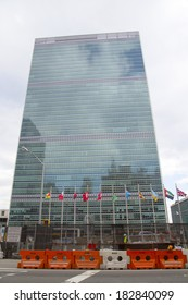 NEW YORK CITY - MARCH 20: The United Nations building in Manhattan on March 20, 2014 in New York. The complex has served as the official headquarters of the United Nations since its completion in 1952