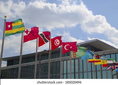 NEW YORK CITY - MARCH 20: International Flags in the front of United Nations Headquarter in New York on March 20, 2014