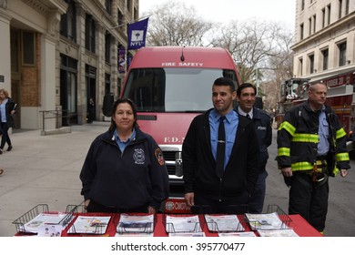 NEW YORK CITY - MARCH 23 2016:  Labor, political & religious leaders  gathered to commemorate the anniversary of the Triangle Shirtwaist fire. FDNY recuiters