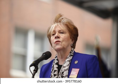 NEW YORK CITY - MARCH 23 2016:  Labor, political & religious leaders  gathered to commemorate the 105th anniversary of the Triangle Shirtwaist fire. Roberta Reardon, NY commissioner of labor