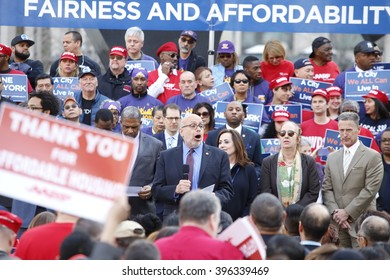 NEW YORK CITY - MARCH 23 2016: Mayor de Blasio, Chirlane McCray, Melissa Mark-Viverito & HUD director Julian Castro highlighted a rally in Foley Square. Stuart Appelbaum addresses rally
