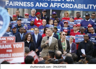 NEW YORK CITY - MARCH 23 2016: Mayor de Blasio, Chirlane McCray, Melissa Mark-Viverito & HUD director Julian Castro highlighted a rally in Foley Square