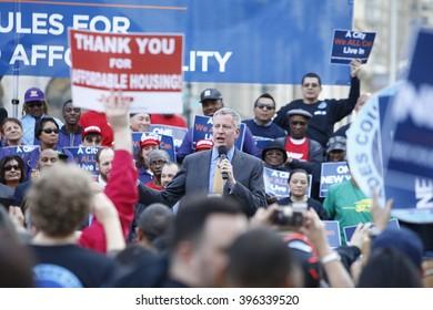 NEW YORK CITY - MARCH 23 2016: Mayor de Blasio, Chirlane McCray, Melissa Mark-Viverito & HUD director Julian Castro highlighted a rally in Foley Square. Mayor Bill de Blasio addresses rally