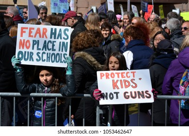 New York City - March 24, 2018: People taking part in the March for our Lives against gun violence in New York City.