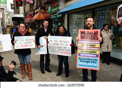 NEW YORK CITY - MARCH 25 2015: activists gathered in front of The Children's Place on Union Square East to demand compensation for victims of the Rana Plaza factory collapse in Bangladesh