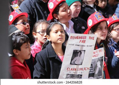 NEW YORK CITY - MARCH 25 2015: the 104th anniversary of the Triangle Shirtwaist Factory fire which killed 146 workers in 1911 was observed by the factory's former site.