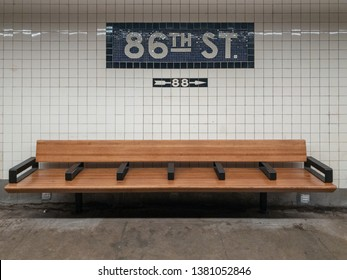 New York City - March 26, 2019: Sign for the 86th Street Subway stop along the New York City subway.