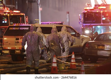 NEW YORK CITY - MARCH 26 2015: an explosion thought to be caused by a natural gas leak destroyed three brownstones along Seventh St & Second Av injuring 14 people & leaving two missing